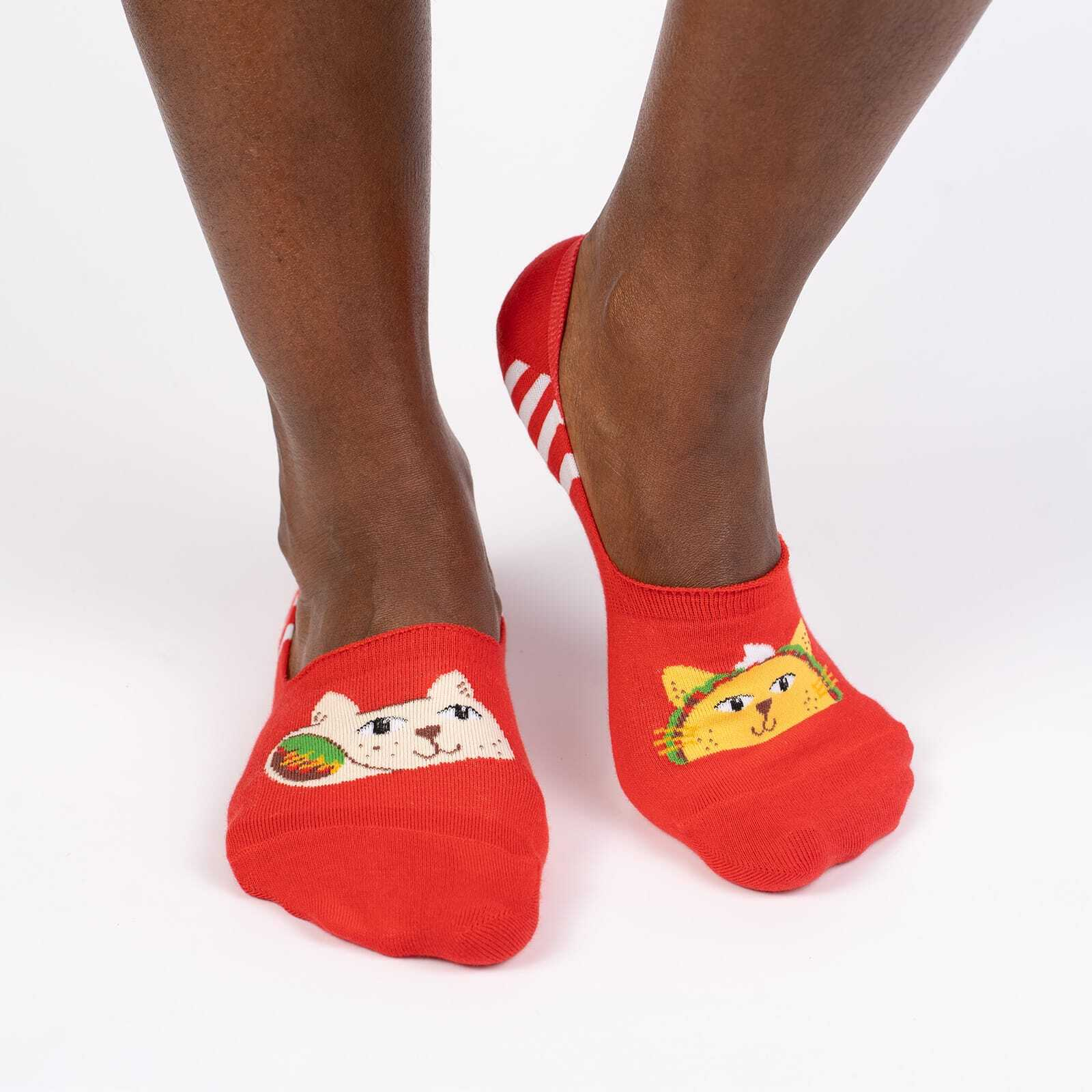 model wearing Taco Cat Small - Funny Animal No Show Socks Red - Unisex