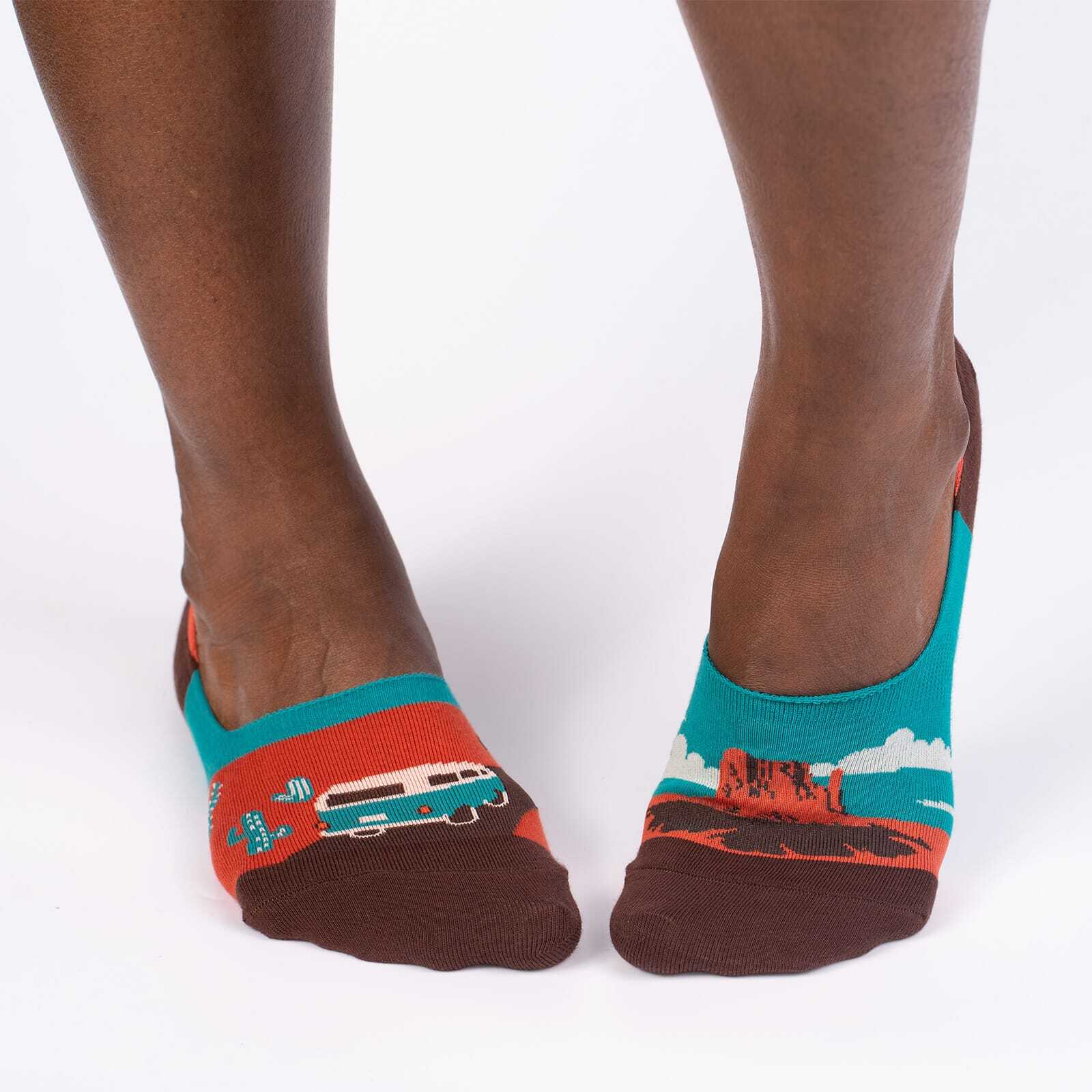 model wearing Monument Valley Small - Road Trip Travel No Show Socks Brown - Unisex