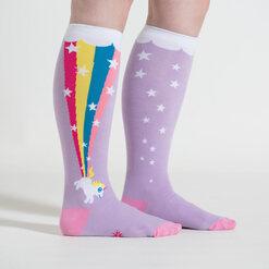 model side view of Rainbow Blast - Wide Calf - Unicorn Knee High Socks Purple - Unisex