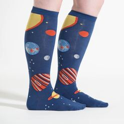 model side view of Planets - Wide Calf - Outer Space Knee High Socks Blue - Unisex