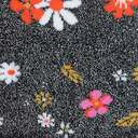 fabric detail of Flower Power - Shimmer Floral Turn Cuff Socks Black - Women's