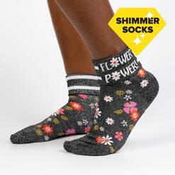 Flower Power - Shimmer Floral Turn Cuff Socks Black - Women's in Black