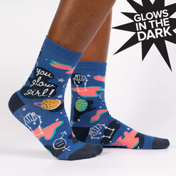 You Glow Girl - Outer Space Girl Power Crew Socks Blue - Women's in Blue