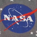 fabric detail of Stargazer - 50th Anniversary Moon Landing NASA Constellation Glow-in-the-Dark Crew Socks Grey - Men's