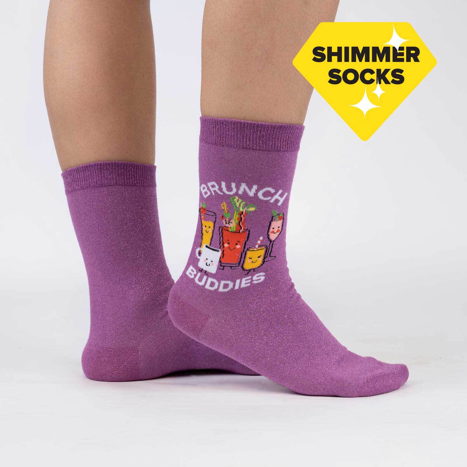 model wearing Brunch Buddies - Brunch Cocktail Crew Socks Purple - Women's