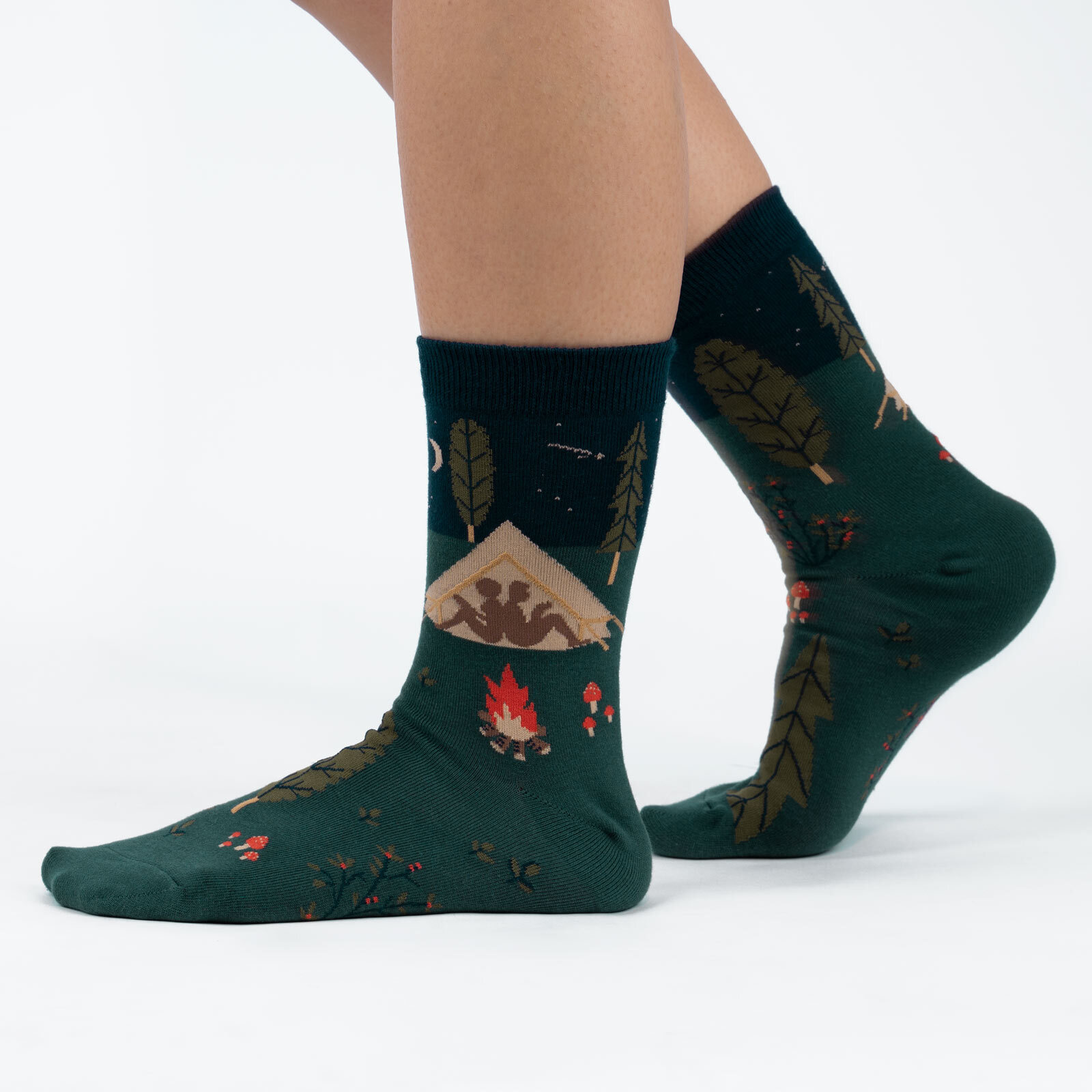model wearing Off The Grid - Camping in Nature Crew Socks Green - Women's