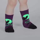model wearing Batnado - Bat Tornado Glow in the Dark Halloween Crew Socks Purple - Toddler
