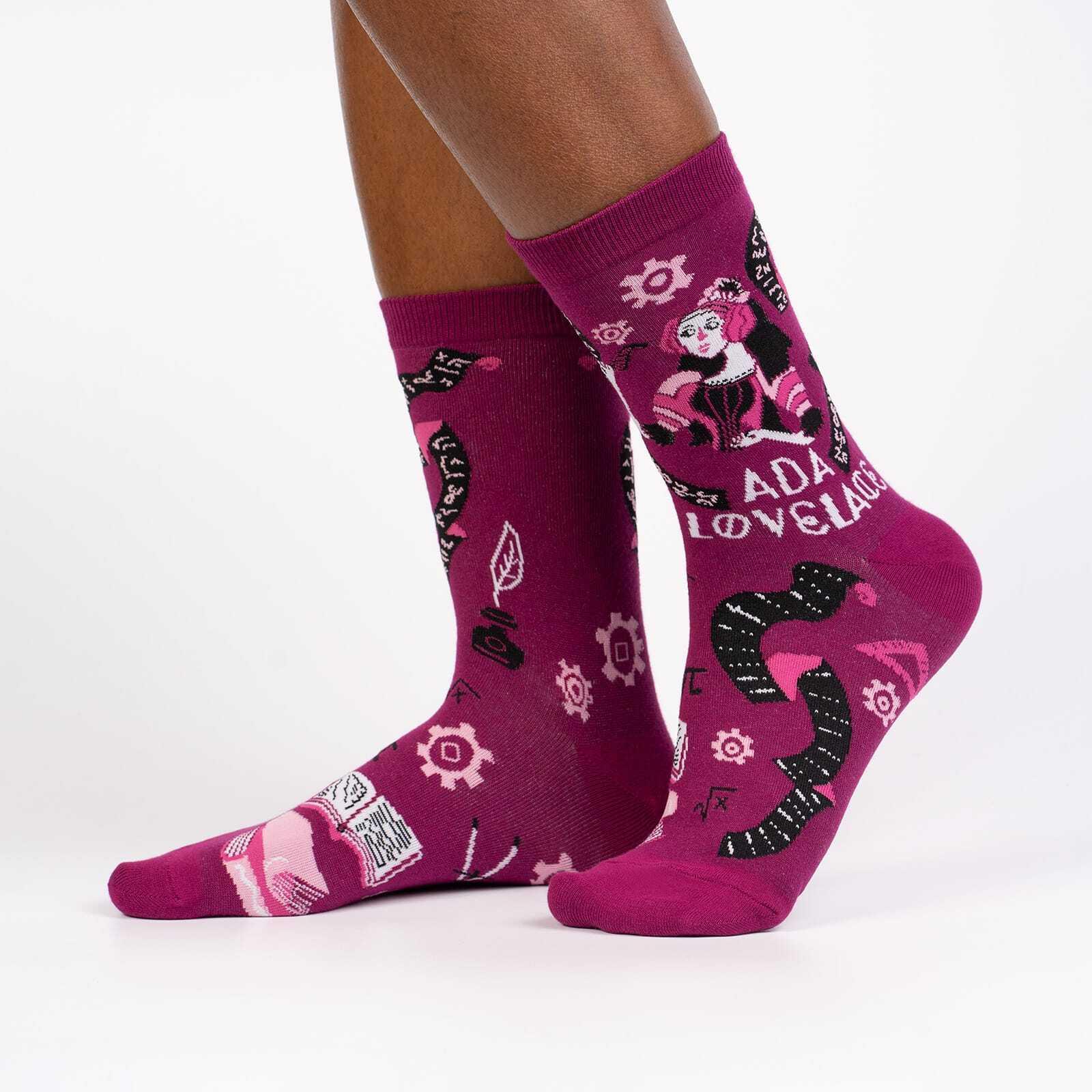 model side view of Ada Lovelace - Famous Science Feminist Icons Crew Socks Maroon - Women's