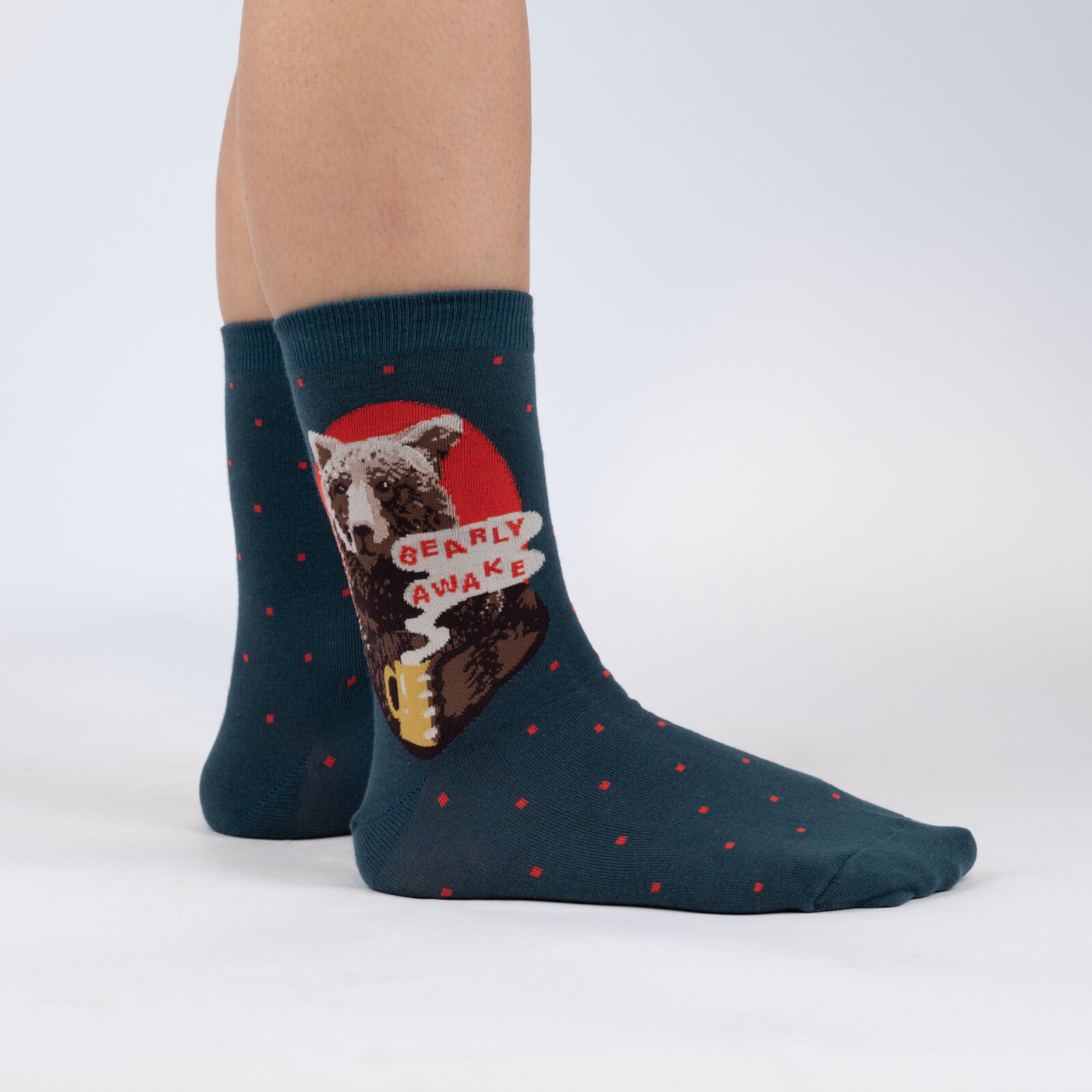 model wearing Bearly Awake - Bear and Coffee Crew Socks Turquoise - Women's