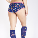 model rear view of Glazed Galaxy - Donut Hipster Underwear Blue - Sizes XS-3XL