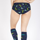 model rear view of Land of The Dino - Dinosaur Hipster Underwear Blue - Sizes XS-3XL