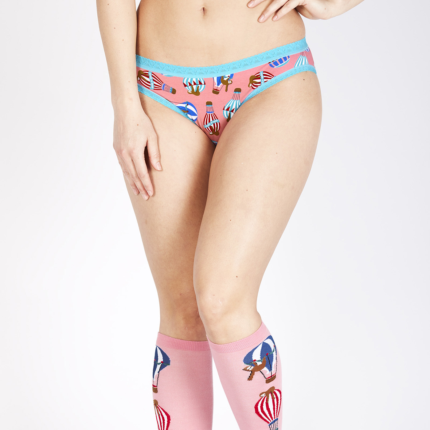 model wearing Hang In There - Sloth Bikini Underwear Pink - Sizes XS-XL