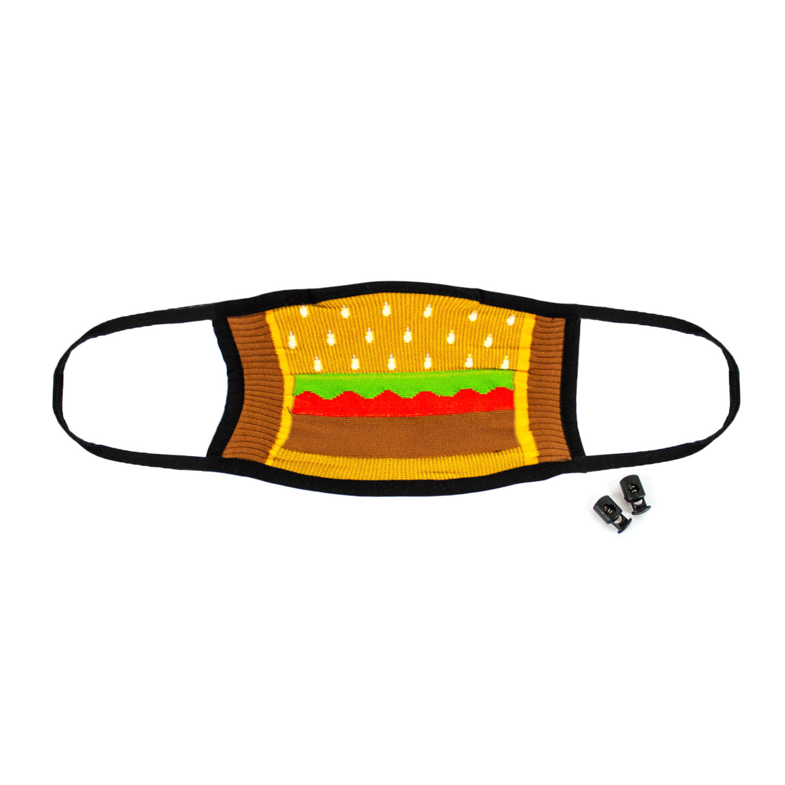 Mouthful - Delicious Burger Face Masks Brown - Unisex in Yellow