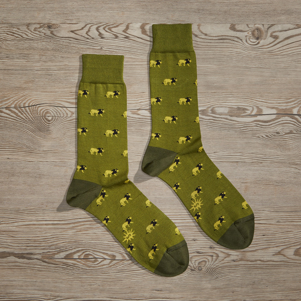 Luxe King of the Jungle Men's Dress Socks | Size: 7-13 | Green in Green