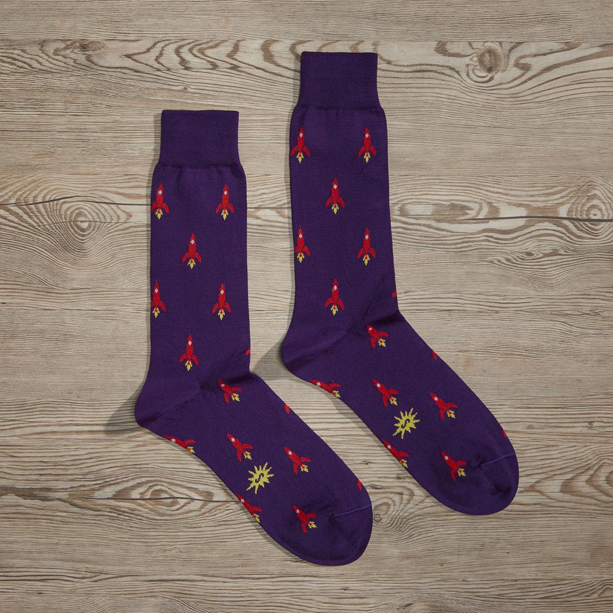 Luxe Rocket Man Men's Dress Socks | Size: 7-13 | Orange in Grey