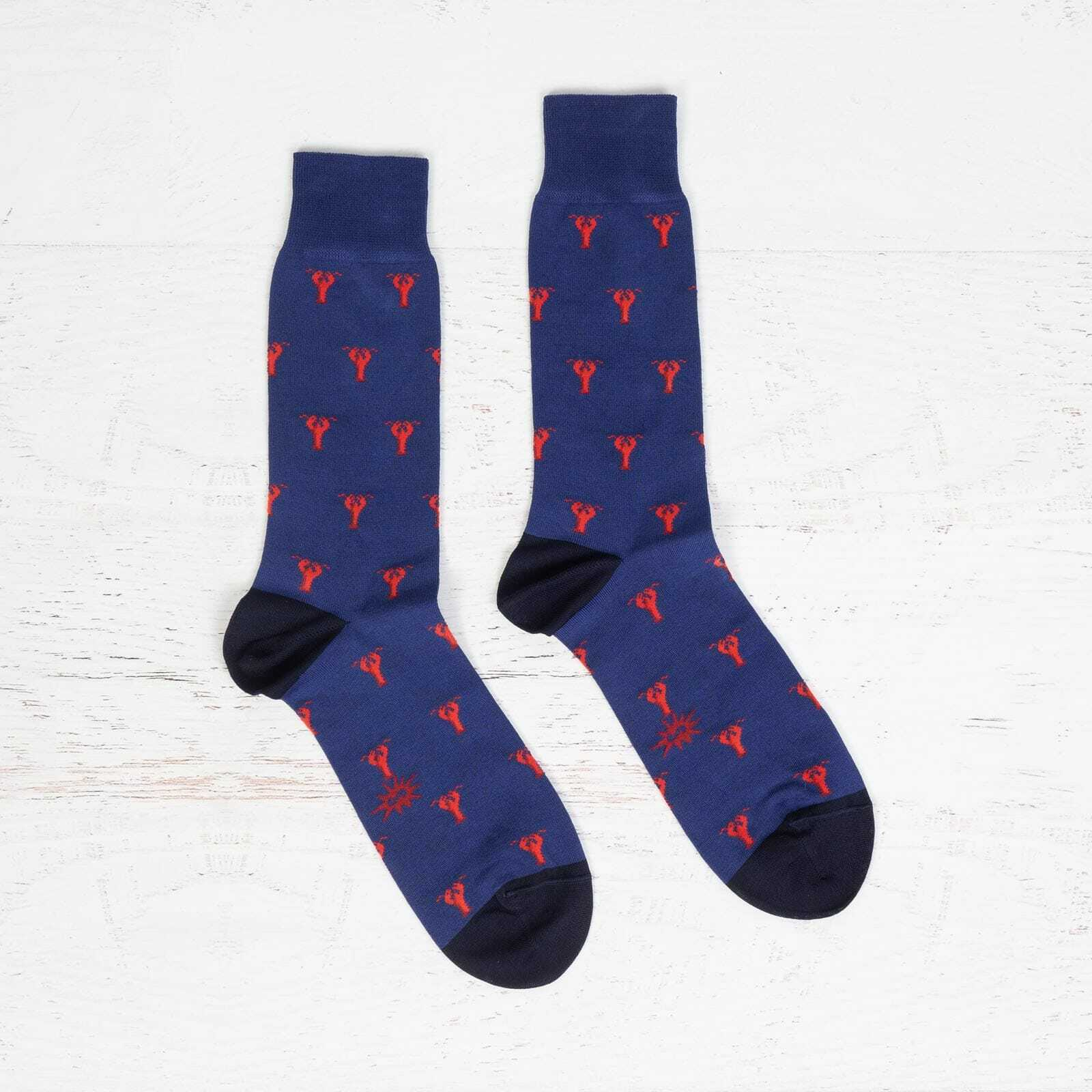 Men's Luxe Lobster Dress Socks in Grey