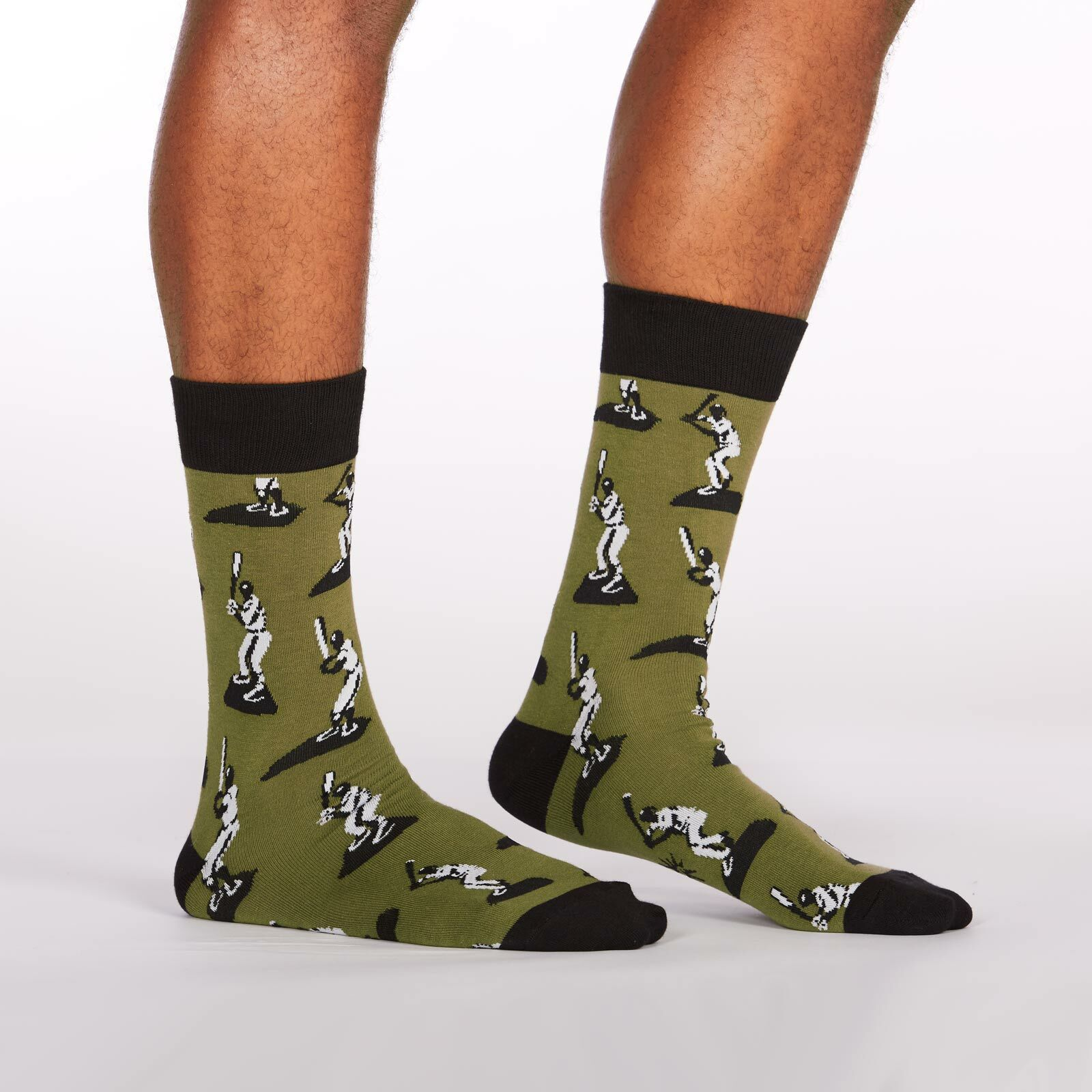 Batter Up - Baseball Crew Socks Black and Green - Men's in Green