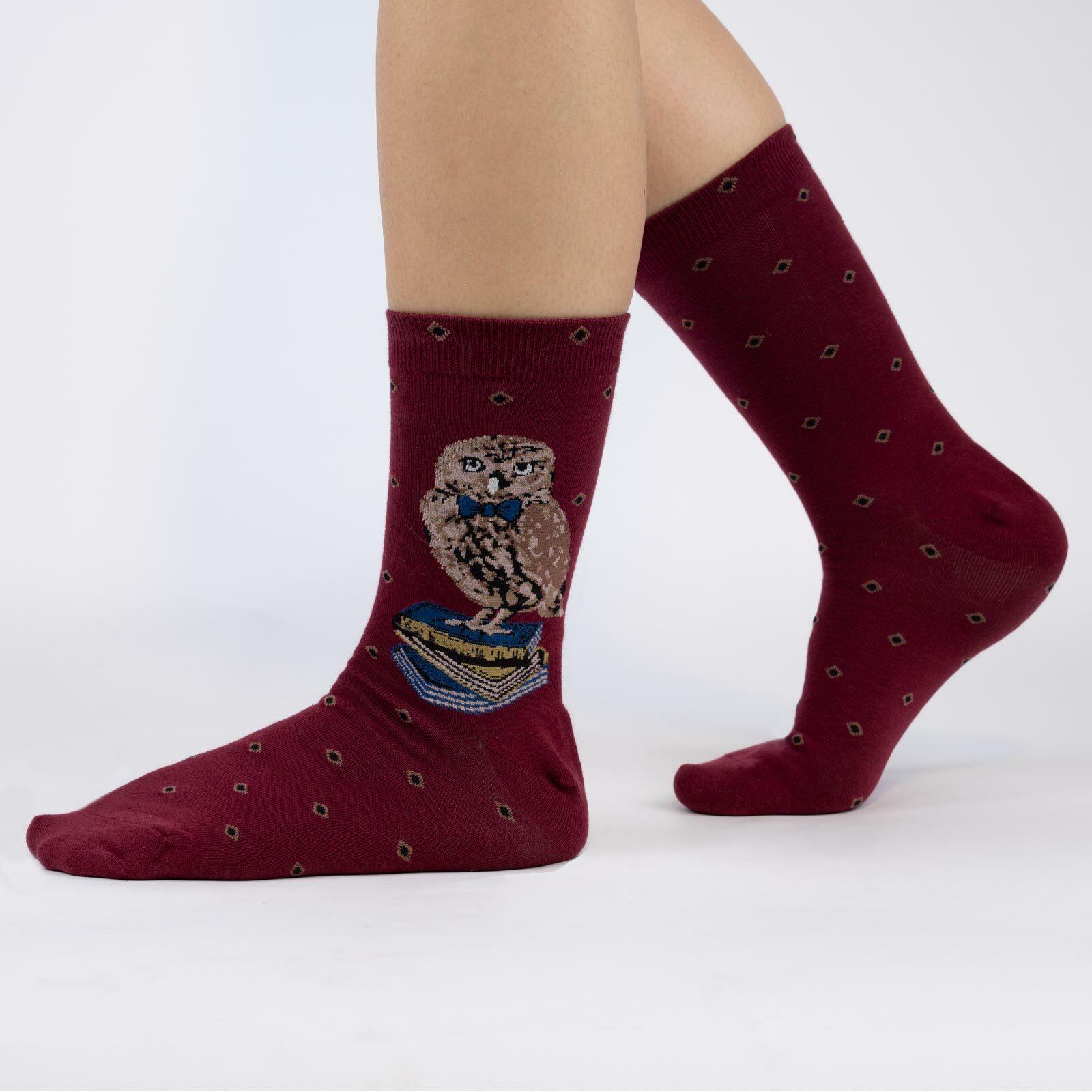 model wearing Reading Is A Hoot - Book Loving Owl Crew Socks Maroon - Women's