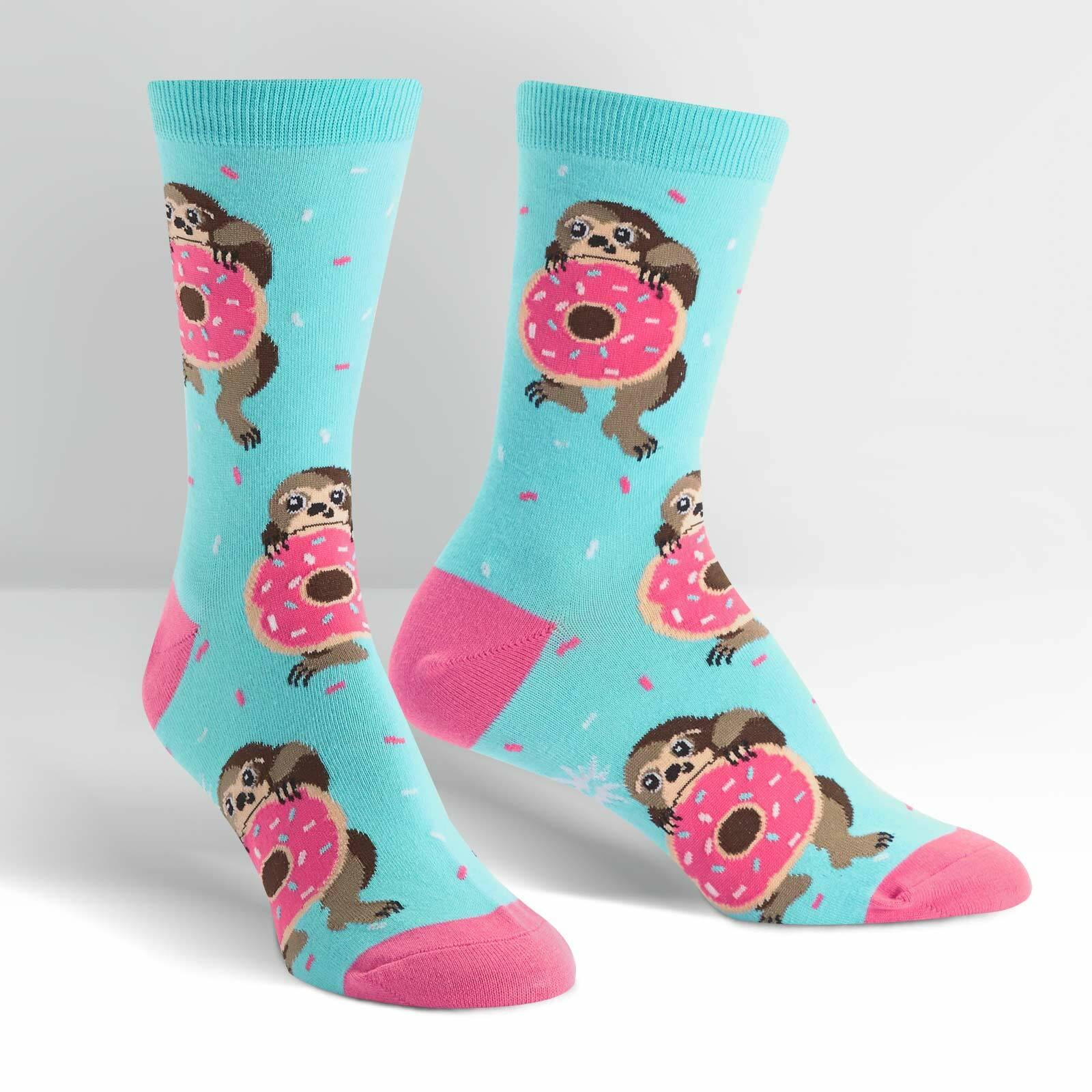 Light Blue variant of Snackin' Sloth - Sloth Crew Socks Blue - Women's