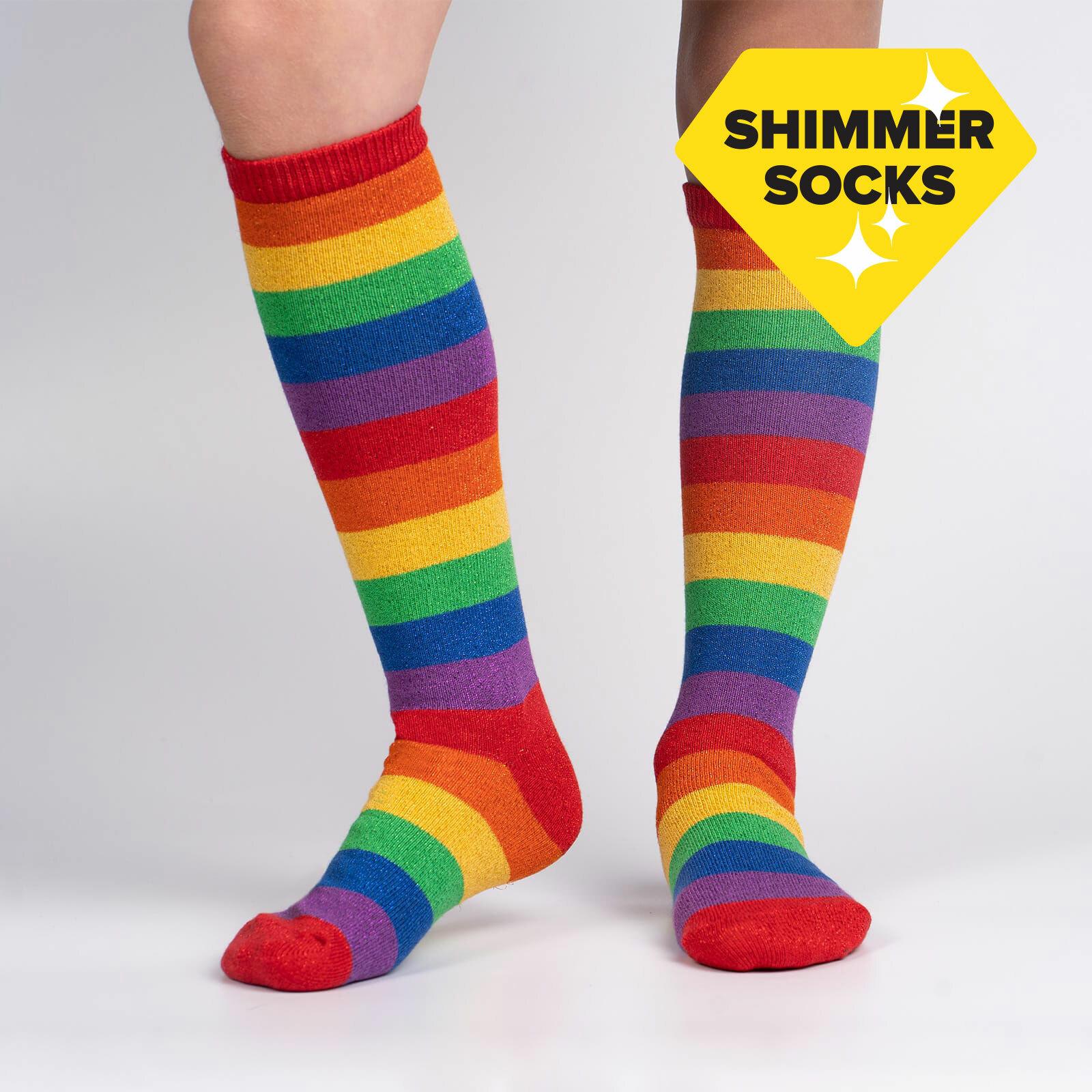 model wearing March with Pride Junior Knee Socks