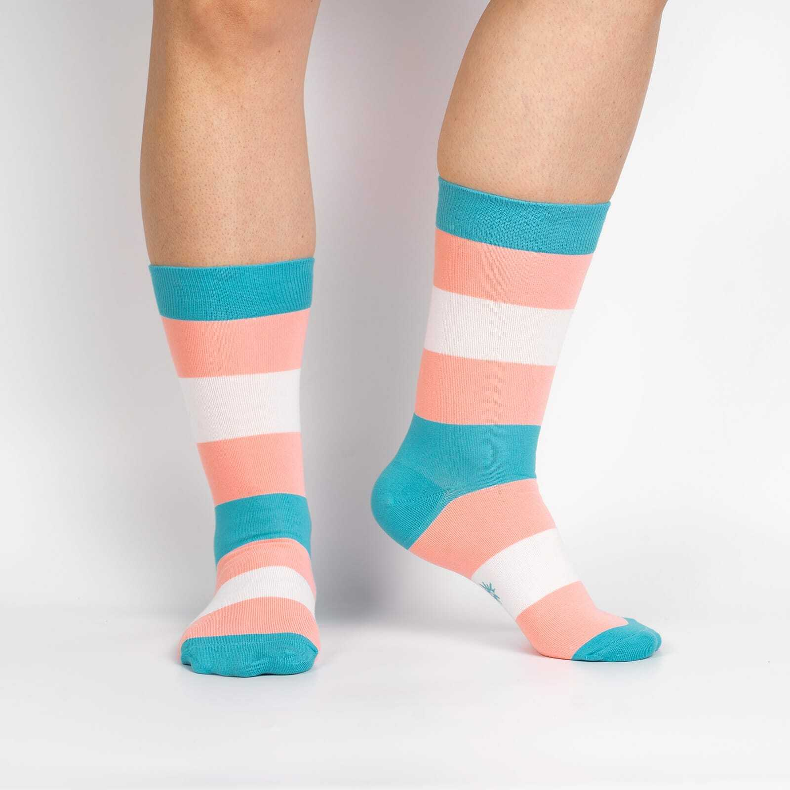 model wearing Trans Pride Unisex Crew Socks - S/M