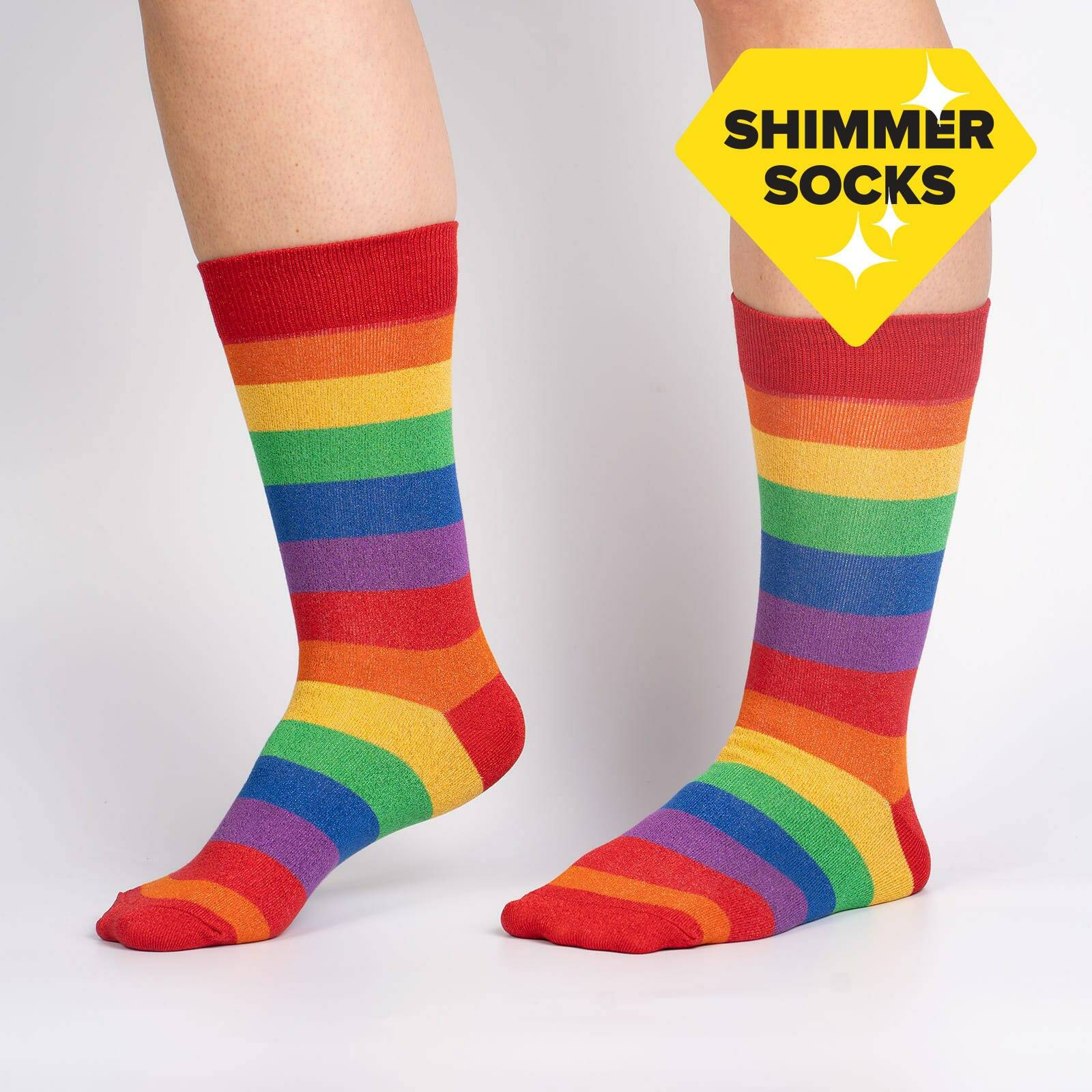 model wearing March with Pride Unisex Crew Socks - S/M
