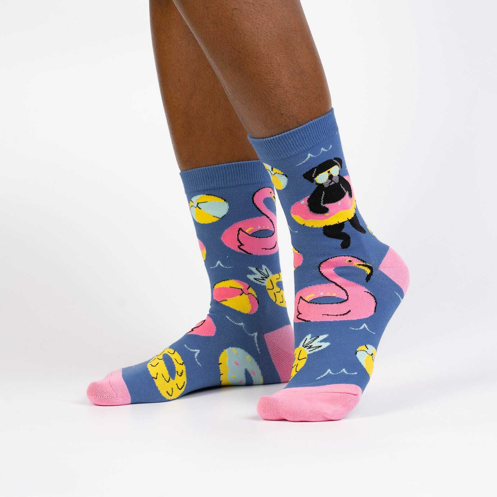 model wearing Summer Puggin' Women's Crew Socks