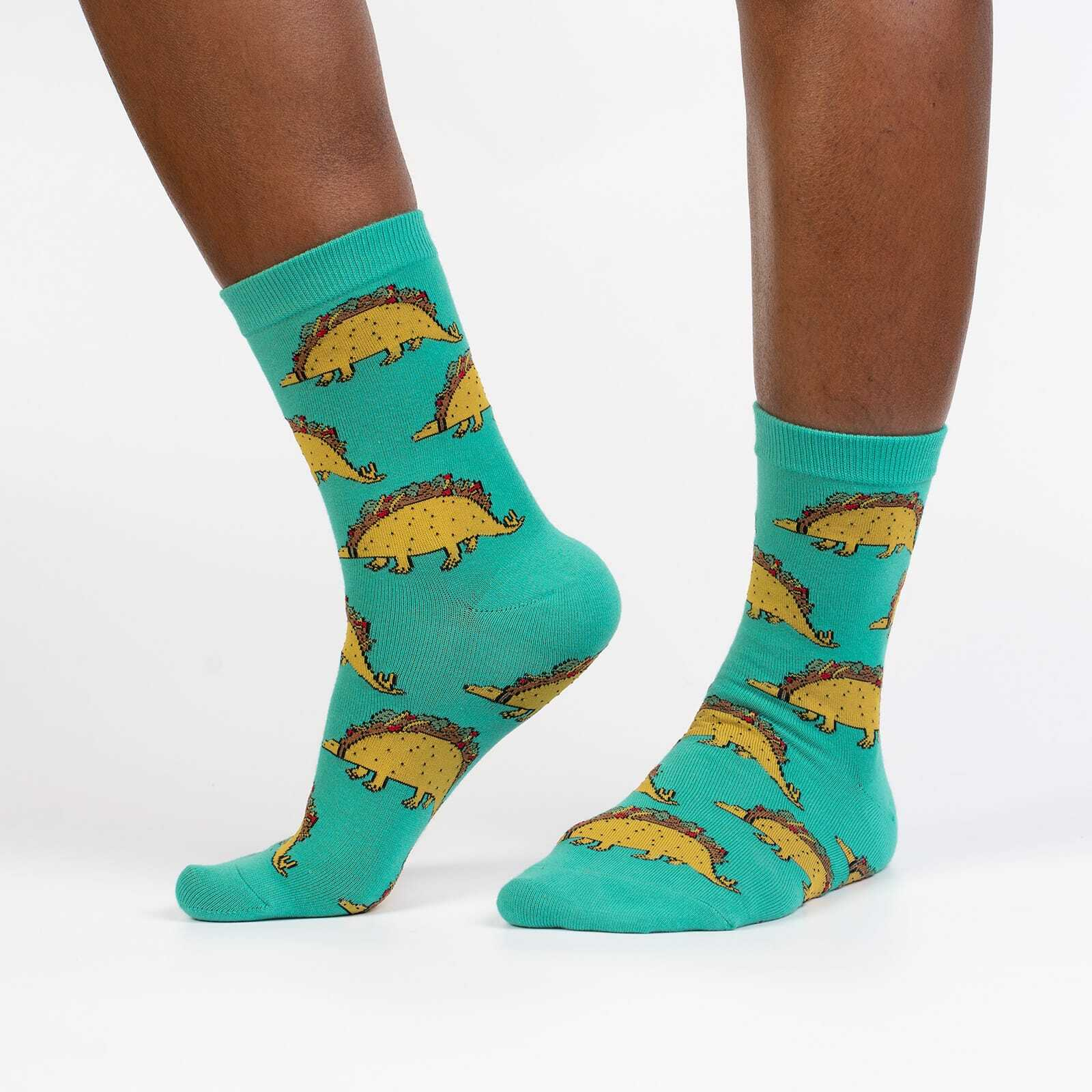 model wearing Tacosaurus Women's Crew Socks