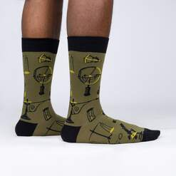 For Good Measure - Science Tools Green Men's Crew Socks - Sock It to Me in Green