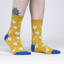 model side view of Shuttle Sock - Fun Sports Badminton Yellow Women's Crew Socks - Sock It to Me