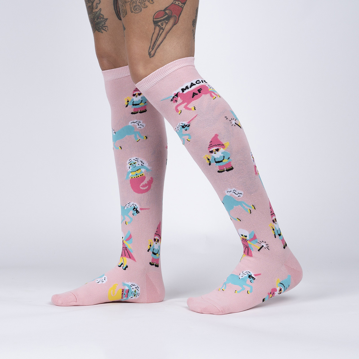 model side view of Magic AF - Funny Unicorn Gnome Knee Socks - Women's