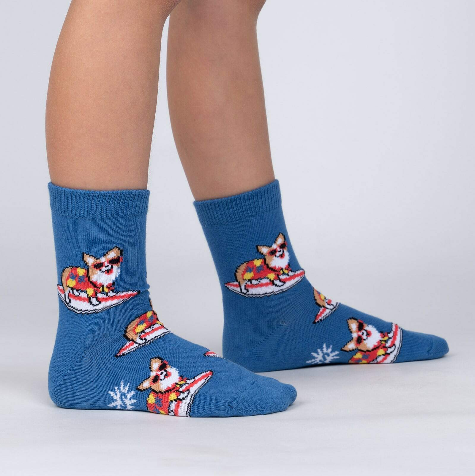 model side view of Corgi-bunga! - Funny Surfing Dog Crew Socks - Junior