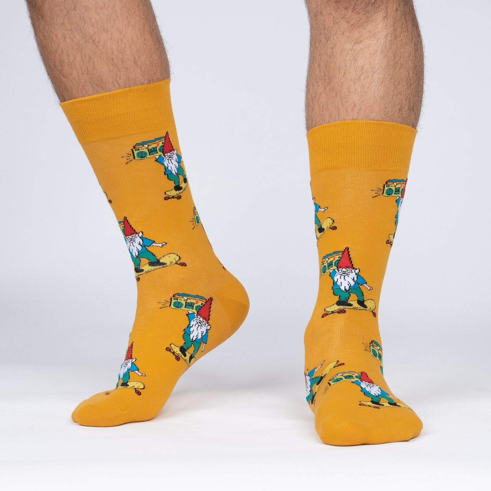 model side view of Gnarly Gnome - Funny Skateboard Crew Socks - Men's