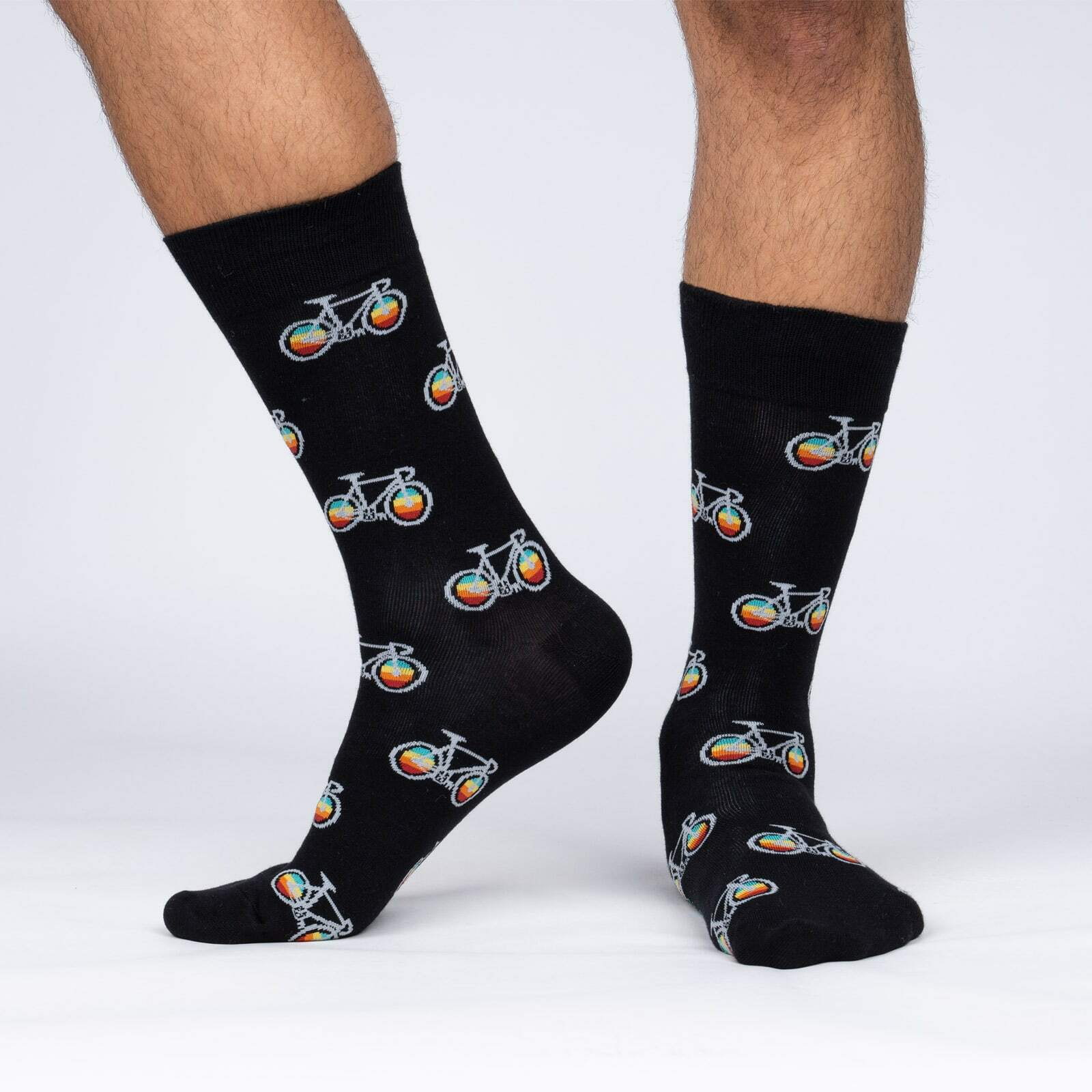 model side view of Pedal Power - Bicycle Crew Socks - Men's