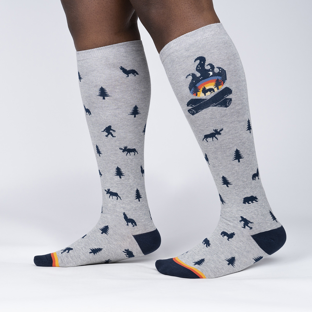 model side view of Magic Of the Forest - Campfire Nature Knee Socks - Unisex