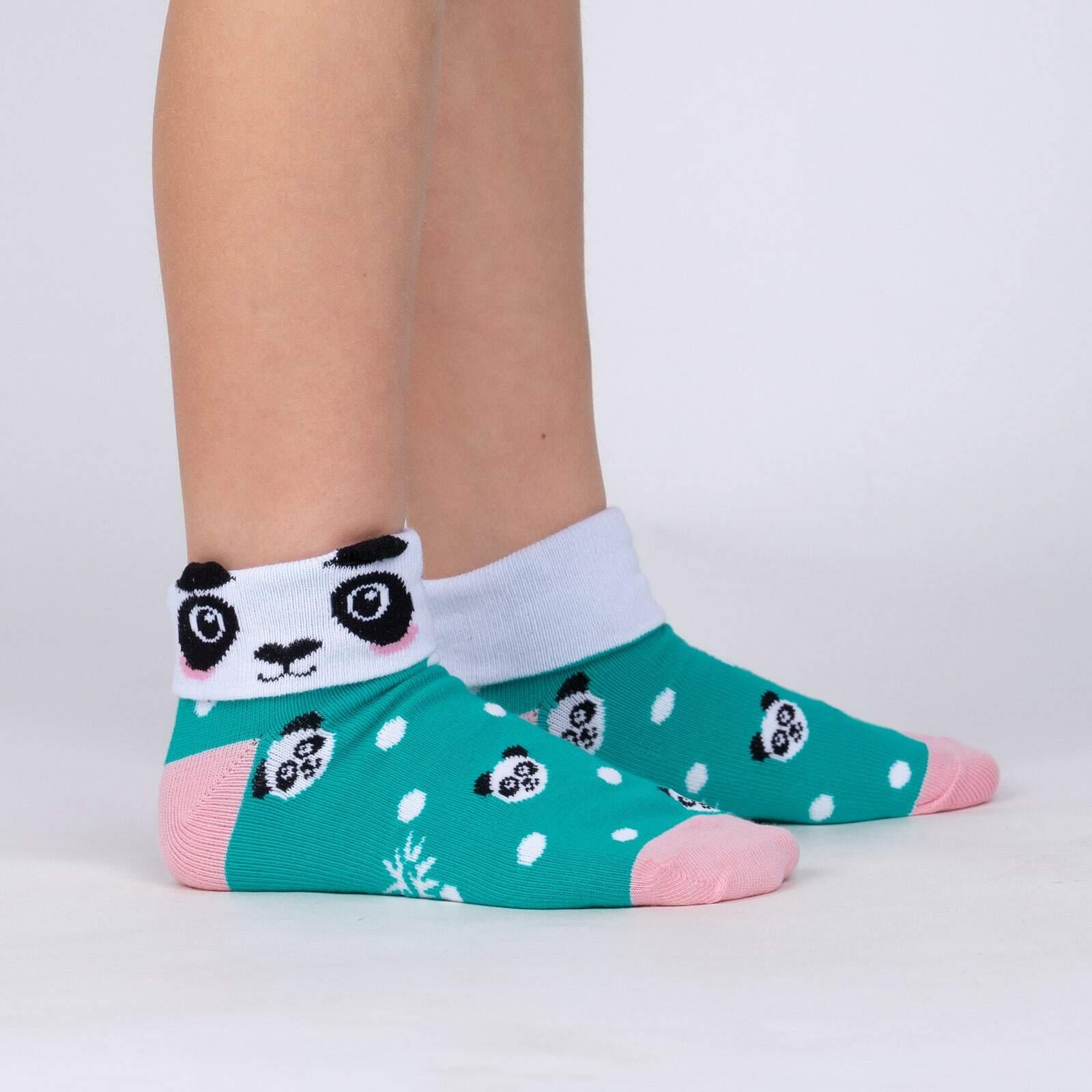 model side view of Panda Pair - Adorable Panda Bear Turn Cuff Socks - Youth