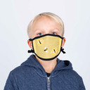 model wearing youth size of Buzz Words - Bee Face Masks Yellow - Unisex
