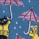 fabric detail of Petting In The Rain - Cats and Dogs in Raincoats Crew Socks - Women's