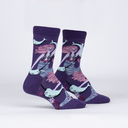Fin Friends - Underwater Sea Creature Narwhal Crew Socks - Women's in Purple