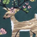 fabric detail of Spring Awakening - Floral Deer Crew Socks - Women's