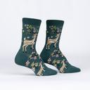 Spring Awakening - Floral Deer Crew Socks - Women's in Green