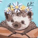 fabric detail of My Dear Hedgehog - Adorable Animal Crew Socks - Women's